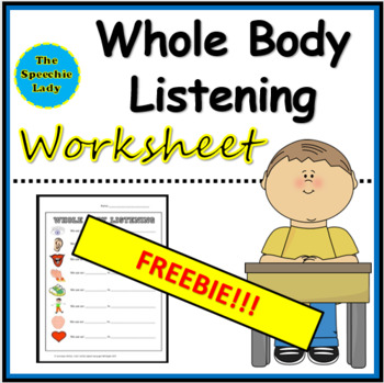 Whole Body Listening worksheet by It's FUN to BE an SLP | TpT