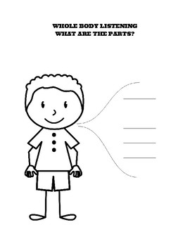 Whole Body Listening worksheet stand sit 5 sheet boy and girl