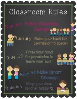 Freebie! Whole Brain Class Rules Chalkboard Posters