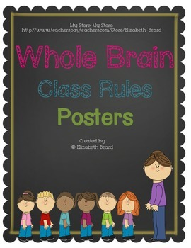 Freebie! Whole Brain Class Rules Chalkboard Posters