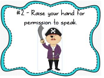 Whole Brain Classroom Rules Pirates Theme (Editable)