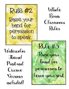 Whole Brain Classroom Rules Watercolor Theme