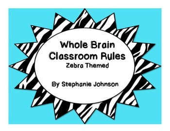Whole Brain Classroom Rules-Zebra Themed (Blue)