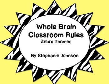 Whole Brain Classroom Rules-Zebra Themed (Yellow)