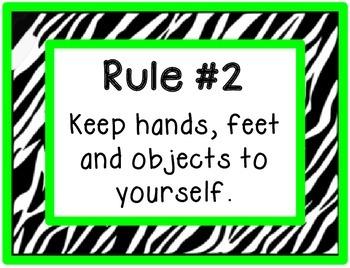 Classroom Rules - Green Zebra Border (no pics)