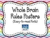 Whole Brain Rules Posters - Rainbow Chevrons & Easy Fonts