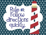 Whole Brain Teaching 5 Rules Posters - Nautical Theme