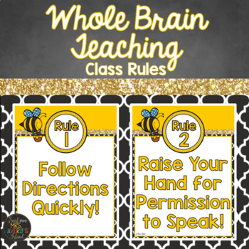 Whole Brain Teaching Bee Themed Classroom Rule Posters