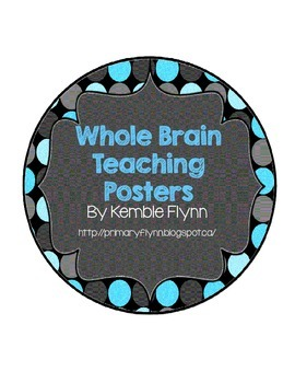 Whole Brain Teaching Blue Polka Dot Circle Squiggly Frame Posters FREEBIE