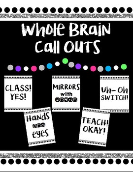Whole Brain Teaching Call Outs *Black/White/Glitter*