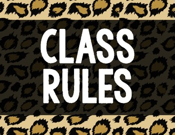 Whole Brain Teaching Class Rules Animal Print/Safari