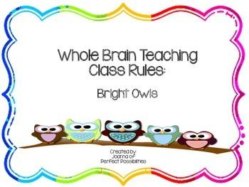 Whole Brain Teaching Class Rules (Bright Owls / Rainbow Theme)