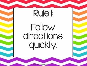 Whole Brain Teaching Class Rules (Bright Rainbow Chevron Theme)