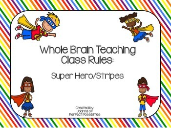 Whole Brain Teaching Class Rules (Bright Super Hero / Stripes Theme)