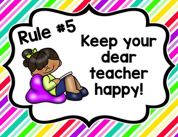 Whole Brain Teaching Class Rules-Brights/Flexible Seating Theme