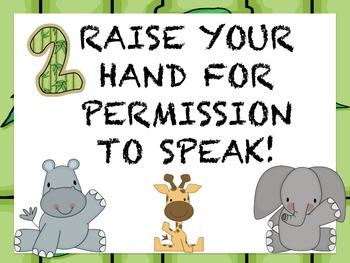 Whole Brain Teaching - Class Rules - Jungle/Safari theme