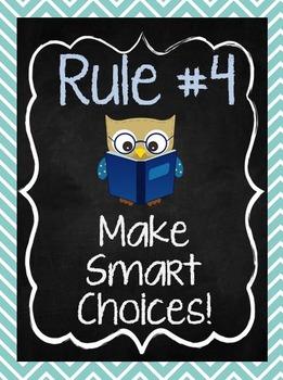 Class Rules Posters: Chalkboard Chevron Owl Theme
