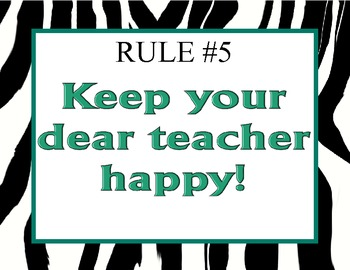 Class Rules and Signals Zebra Theme