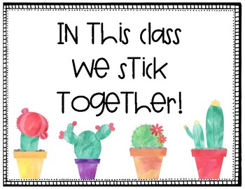 Whole Brain Teaching Classroom Posters- Cactus Theme