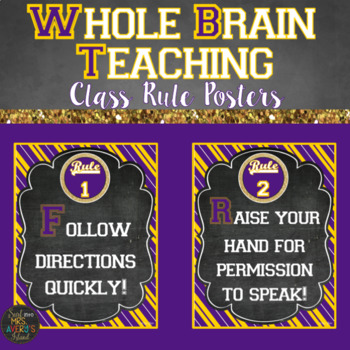 Whole Brain Teaching Classroom Rule Posters | LSU Themed Decor