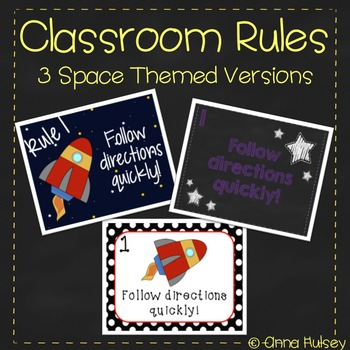 Classroom Rules (3 Space Themed Versions)