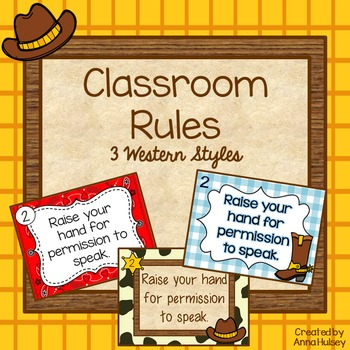 Classroom Rules (3 Western Themed Versions)