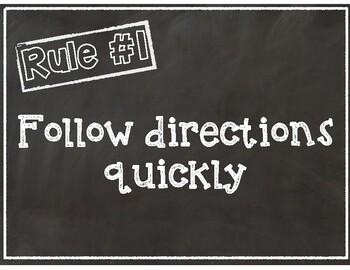 Whole Brain Teaching Classroom Rules- Chalkboard Theme