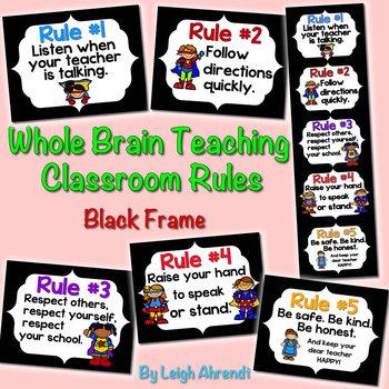 Whole Brain Teaching Classroom Rules - Black Frame