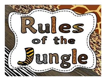 Whole Brain Teaching Classroom Rules Posters - Jungle Theme 2