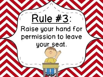 Whole Brain Teaching Classroom Rules- Red Chevron