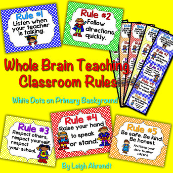Whole Brain Teaching Classroom Rules - White Dots on Primary Background