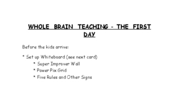 Whole Brain Teaching - First Day Cards