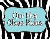 Five Class Rules / Turquoise & Zebra Print / Decorations