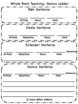 Whole Brain Teaching- Genius Ladder- Writing Sentences