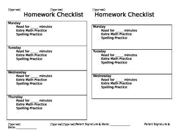 Whole Brain Teaching Homework Checklist