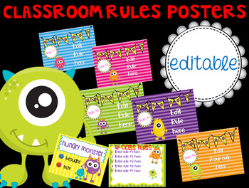 Monster Theme Classroom Rules Posters (Editable)