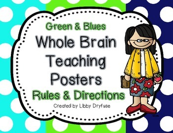 Whole Brain Teaching Posters {Green & Blue Dots}