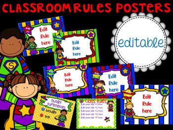 Superhero Theme Classroom Rules Posters (Editable)