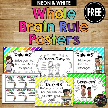 Whole Brain Teaching Rule Posters Neon & White Melonheadz Edition