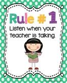 Whole Brain Teaching Rules - *ADAPTED* FREEBIE!!