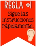 Whole Brain Teaching Rules Banner with Emojis in Spanish