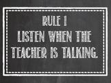 Whole Brain Teaching Rules Chalkboard Style