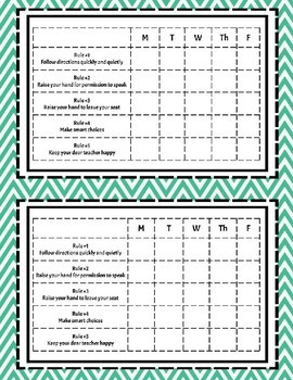 Whole Brain Teaching Rules Desk Charts