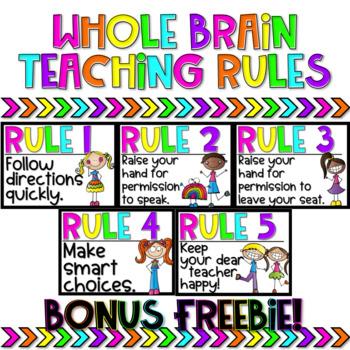 Whole Brain Teaching Rules FREEBIE (Rainbow Brights)