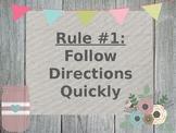 Whole Brain Teaching Rules Flower Burlap Farmhouse Themed