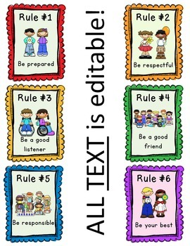 photograph about Classroom Rules Printable identified as Editable Clroom Regulations Comprehensive Head Schooling Regulations Posters - Cost-free