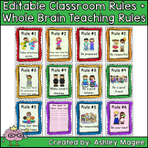 Editable Classroom Rules & Whole Brain Teaching Rules Post