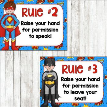 Whole Brain Teaching Rules Posters FREEBIE! {Superhero Theme}