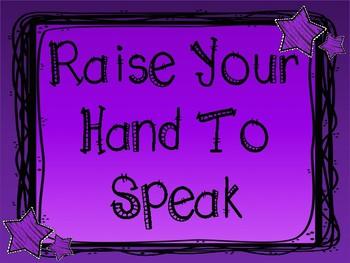 Whole Brain Teaching Rules - Purple & Stars