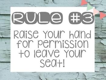 Whole Brain Teaching Rules - Rustic Farmhouse Theme